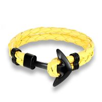 Yellow leather anchor bracelet