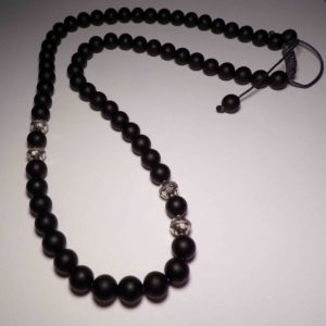 necklace shamballa beads black matte and silver