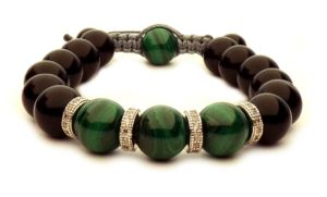 shamballa bracelet with green Malachite pearls