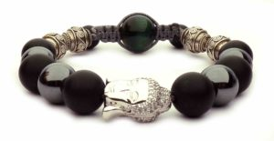 cord bracelet and beads Buddha silver