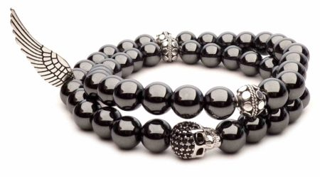 bracelet double head of death pearls hematite