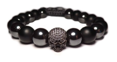 Hematites pearl bracelet and silver death head