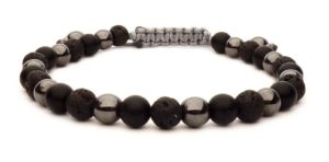 bracelet bead ball black and metal on wire