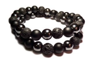 double row tibetan bracelet with dark pearls