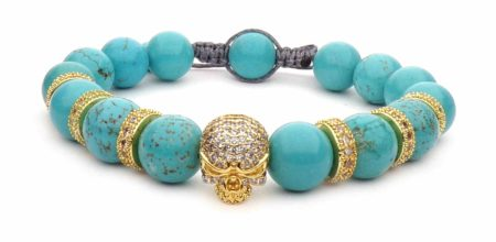 yellow and turquoise blue shamballa death skull bracelet