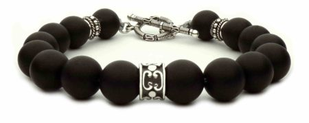 black beaded bracelet and t-clasp