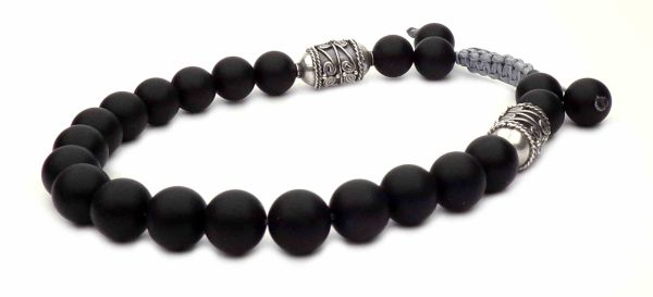 shamballa bracelet pearls black and silver