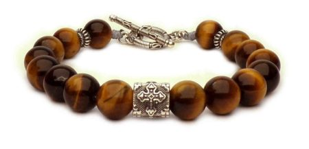 tiger eye bracelet and silver cross