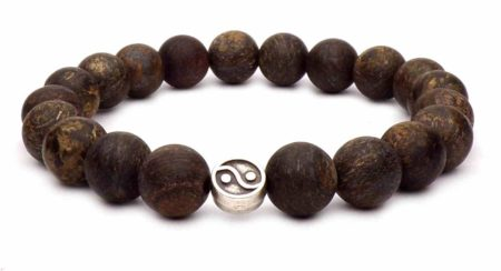 The Yin Yang silver bracelet and Bronzite beads