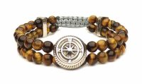 tiger eye steel compass bracelet