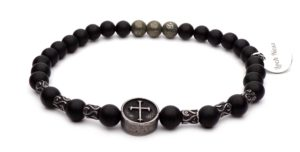 steel cross bracelet beads black onyx