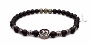 horse head bracelet steel and black pearls