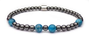 Bracelet balls gray Hematite and Apatite blue