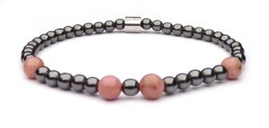 Pink Hematite and Pink Rhodonite Mini Pearl Women's Bracelet