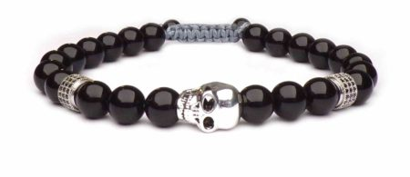 black shamballa rock crane in silver for men