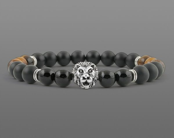Classic Lion Head Bracelet Yellow Tiger For Men 8mm Stone Beads-1