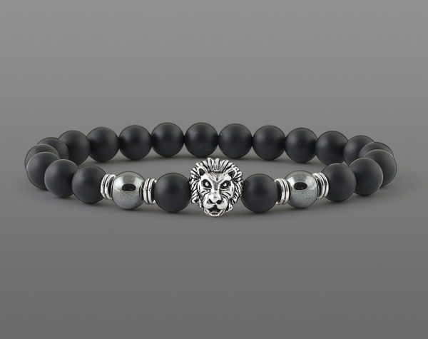 Classic Lion Head Bracelet Yellow Tiger For Men 8mm Stone Beads-2