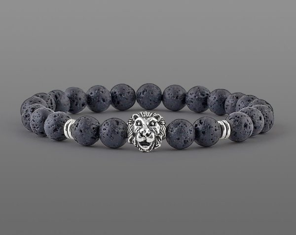 Classic Lion Head Bracelet Yellow Tiger For Men 8mm Stone Beads-3
