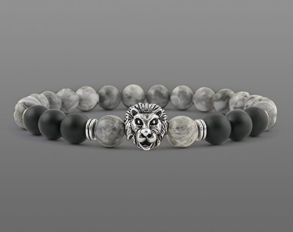 Classic Lion Head Bracelet Yellow Tiger For Men 8mm Stone Beads-4