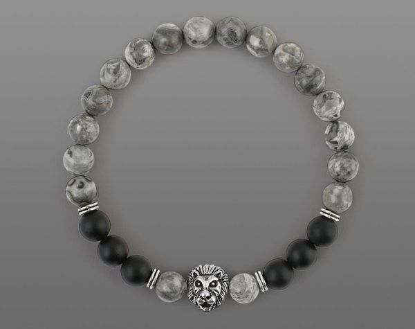 Classic Lion Head Bracelet Yellow Tiger For Men 8mm Stone Beads-5