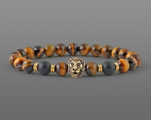 Classic Lion's Head Bracelet Yellow Tiger For Men 8mm Stone Beads