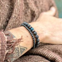 Man Bracelet Beads Bracelets Natural Lava Man Fashion Bracelets Bracelet Men Wooden Bead Accessory Jewelry