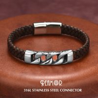 Trendy Mens Bracelet Stainless Steel Jewelry Magnetic Leather Braided Connector
