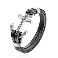 Genuine leather anchor bracelet, for men