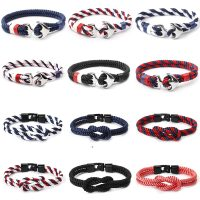 Men's Smooth Leather Personality Bracelet, Sport Rope, Black Anchor, Stainless Steel