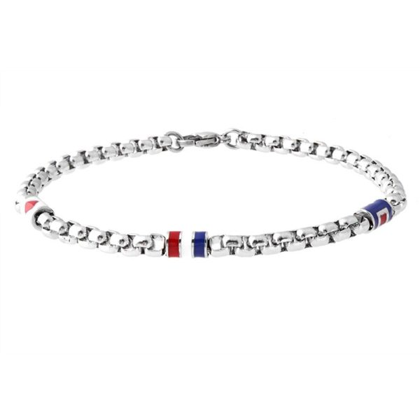 Men's steel bracelet with pearls and France flag