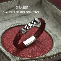 Classic stainless steel leather bracelets for men