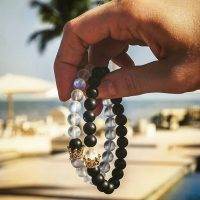Distance bracelets for couple of natural stone beads