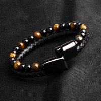 Tiger Eye Natural Stone Bracelets & Genuine Leather Braided Leather Black Stainless Steel Magnetic Clasp