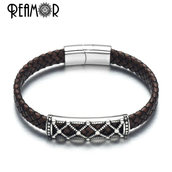 Bracelets real leather and stainless steel, openwork beads