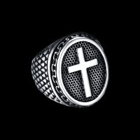 Men's signet ring with Catholic cross