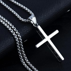 Steel necklace with cross pendant necklace for men masculine gift