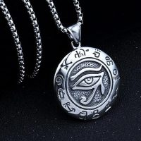 Men's steel chain necklace for Horus eye