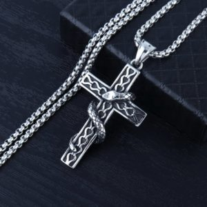 Men's Punk Cross Necklace, Stainless Steel Pendant