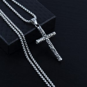 Men's Necklace with Vintage Cross Carved Cross Pattern Pendant Necklace for Men Stainless Steel Chain