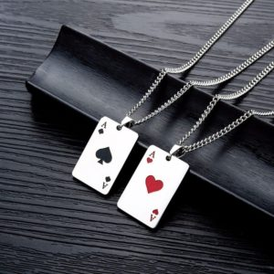 Men's necklace with poker card pendant