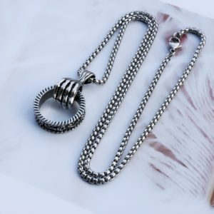 Men's necklace with hand pendant and ring