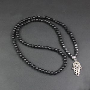 Trendy men's pearl necklace with natural stones and hand of Fatime