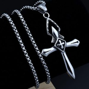 Vintage style Royal knight cross necklace pendant necklace for men masculine gift