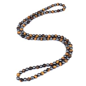 Men's Natural Hematite Tiger Eye Bead Necklaces, Magnetic Protection