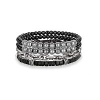 set pi ces multi layers perl leather bracelet charms women stainless steel