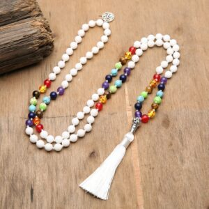 Japa Mala  Chakra pierre naturelle perl e nou e collier Yoga b n diction