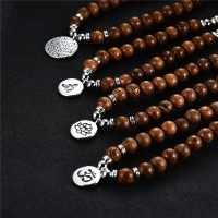 Wooden Beads OM Buddhism Lotus Flower of Life Necklace for Women Men Rosary Necklaces