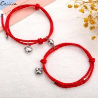 Pieces Set Couple Magnetic Distance Lucky Adjustable Rope Bracelet Red Braided Heart Rope