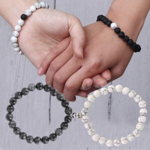 piece set Romantic Couple Natural Stone Magnetic Bracelet Matching Attract Each Other For