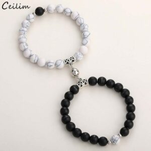 Fashion Pi Ces Set Natural Stone Beads Yoga Bracelet For Lover Distance Loving Couple